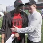 Pictured with NFL Commissioner Roger Goodell, Sanders retired from the NFL in 2005. He remains an active presence in the league's circles, serving as a mentor to many young players across the country.