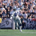 """""""Prime Time"""" was known for celebrating before a play was over. Whether he was high-stepping into the end zone after an interception or punt return, or holding the ball up, Sanders thrilled and angered many with his antics."""