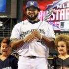 The Brewer basher celebrated his All-Star Game MVP Award with his two chips off the big block.
