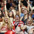 And now, some girls who appear to have gone wild at the big soccer tournament in Germany.