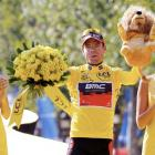 The winner of the Tour de France's coveted Lion -- or is it Lyon? -- on the Champs Elysees in Paris, France.