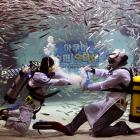 Not to be outdone by cyclists, MMA fighters, Mexican wrestlers or crocodiles, two divers -- surrounded by sardines lest they desire a snack, although it is hard to keep the crackers from getting soggy -- battled it out at the Coex Aquarium in Seoul, South Korea, which is, not coincidentally, the home of Seoul music.