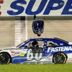 Carl Edwards celebrates with his signature backflip following his win at the NASCAR Nationwide Series Federated Auto Parts 300. The July 23 victory at Nashville marked Edwards' fifth Nationwide win this year.