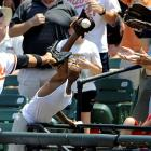 Derreck Lee barely misses this foul ball in the Orioles' July 20 game against the Red Sox. Boston took the rubber game of the series 4-0.