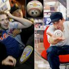 The ball that put Barry Bonds atop the all-time home run leaderboard was caught by college student Matt Murphy (left). Fashion designer Marc Ecko (right) bought it for $752,467 and used it as a marketing opportunity, telling fans to visit his website and choose what to do with the ball. Given the option of sending it into space, branding it with an asterisk and giving it to Cooperstown, or giving it to Cooperstown untouched, fans opted for the asterisk. The Hall of Fame now has the ball -- complete with the branded asterisk.