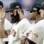 The Giants' ensemble included (from left to right) Ryan Vogelsong, a cap-tipping Brian Wilson, Pablo Sandoval and Tim Lincecum.