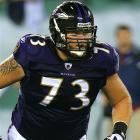 The highly coveted lineman decides to stay in Baltimore.   UPDATE: Agreed to five-year, $32 million deal with Ravens