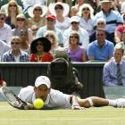Novak Djokovic dives for a shot during his match against Jo-Wilfried Tsonga.
