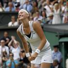 Petra Kvitova celebrates match point of her victory over Maria Sharapova.
