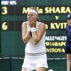 Petra Kvitova reacts after defeating Maria Sharapova.