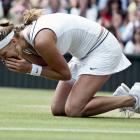 Petra Kvitova drops to her knees after winning her first Grand Slam title.
