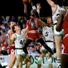 """""""God disguised as Michael Jordan"""" is how Larry Bird described MJ's performance in the second game of a first-round playoff series between the Celtics and Bulls. Jordan, in his second year in the league, scored a playoff-record 63 points, on the heels of a 49-point outing in Game 1 at Boston Garden. The Celtics would sweep Chicago, but they came away awe-struck by His Airness. """"He is undoubtedly the best guard I ever saw play this bleeping game,"""" Dennis Johnson told the  Los Angeles Times ."""
