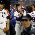 In a series packed with drama, the Astros took the opener 1-0 as Mike Scott outdueled Dwight Gooden with a 14-strikeout gem; the Mets won Game 3 on a walk-off home run by Lenny Dysktra and Game 5 on a 12th-inning single by Gary Carter. Game 6 topped them all for drama. The Mets trailed 3-0 entering the top of the ninth, but rallied for three runs to force extra innings. Both teams scored in the 14th and the Mets scored three in the 16th. But the Astros chipped away with two of their own to make the score 7-6 before Jesse Orosco struck out Kevin Bass, the left-hander's 54th pitch in relief. The strikeout ended the four-hour, 42-minute marathon and clinched the pennant for New York.