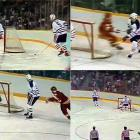 The Oilers' bid for a third straight Stanley Cup was derailed in Game 7 of the Smythe Division finals against Calgary when rookie defenseman Steve Smith (5) attempted a cross-ice pass from next to his own net early in the third period with the score tied 2-2. The puck hit Oilers goalie Grant Fuhr's leg and wound up in the net, giving Calgary the lead. Smith fell to the ice and buried his face in his gloves. The Flames held on to win 3-2. Edmonton would win the 1987 and '88 Cups, Smith's own goal having cost the Oilers a shot at five straight, an achievement that would have matched the 1956-60 Canadiens juggernaut.