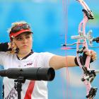 University of New England's Kendal Nicely competes in the women's archery individual compound bow event, in which she won the silver medal.