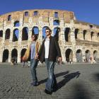 Roddick and James Blake visit The Coliseum during a tournament in Rome.