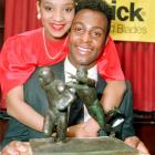 The couple were all smiles when Rice received the 1987 Most Valuable Player Award. They divorced in 2007 after 20 years of marriage.