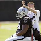 The Raiders defensive tackle got his head screwed on before what must have been a particularly rugged practice in Napa, CA on July 30.