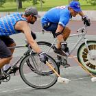 """In Milwaukee, Lodewijk Broekhuizen and Jacob Newborn demonstrated the Next Big Thing in Sports. """"It's a combination between hockey and smash derby with the cars, where people just run cars into one another because these guys are ruthless,"""" said designer Drew Triplett of Milwaukee Bicycle Co. """"For the most part, they're all for the ball and a lot of times they try to get around one another, but it doesn't happen."""" With predictable results, of course."""