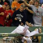 As the Red Sox third-sacker tumbled into the photo pit whilst trying to catch a foul pop, it appears a clever hat thief took advantage of the commotion to ply his nefarious trade at Fenway Park.