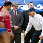 After wrestling with the Republicans and the Tea Party over the U.S. debt ceiling, the wily veep took on his next foe in Ulan Bator, Mongolia, on Aug. 22.