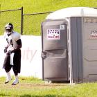 Superman used to change clothes in a phone booth (remember them?), but in this wireless age, all a self-respecting Steelers wideout can do is go with what's available at the team's training camp at St Vincent College in Latrobe, PA.