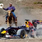 Another intriguing possibility: Formula One Ranching, an exciting mash-up of auto racing and cattle rustling. And what better place to start than in Johnson City, Texas, with the Red Bull car?