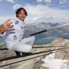 The pleasure is all his: The Swiss tightrope walker is trying to set a world record by scaling seven rather nauseatingly high summits in Germany, Austria and Switzerland in seven days.