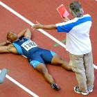 "The ""I did not move!"" false start is infamous in track circles. Drummond protested his disqualification by storming into the infield, repeatedly yelling ""I did not move!"" in front of officials and laying on the track. His tantrum delayed the 100-meter final nearly an hour.   Drummond left the track but then adamantly returned to the starting blocks, shaking his opponents' hands before finally walking off for good, blowing kisses to the crowd and fighting back tears.    Video of Drummond's false start"
