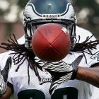 Eagles running back Noel Devine kept his eye on the ball during training camp at Lehigh University.