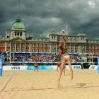 The Horse Guards Parade has hosted countless processionals and military ceremonies, even the occasional monarch beheading.  In 2012 it will be the site of the London Olympics beach volleyball competition, and on Sunday the U.S. pair of Jennifer Kessy (foreground) and April Ross gave it a test drive in the Visa FIVB Beach Volleyball International, where they fell to Brazil in the final.