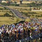 Around 2,500 cyclists stream through the streets of Segovia City in central Spain during the 18th edition of the 'Pedro Delgado' touring cyclist march. This event, in which former Spanish cyclists Pedro Delgado (the cyclist of the hour) and Miguel Indurain participate, commemorates the first time that Indurain won the Tour de France, in 1991.