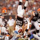 Cleveland Browns' Buster Skrine gets upended during a preseason game against the Detroit Lions.