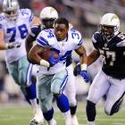 Hats off to Dallas Cowboys' Phillip Tanner (34), who continues to run after losing his helmet in a preseason game again the San Diego Chargers, forgetting for the moment that a play is over once a helmet comes off.