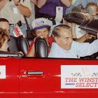 Then-Republican presidential candidate Bob Dole rides around with NASCAR legend Richard Petty prior to the 1996 Coca-Cola 600 at Charlotte.