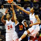 Atlanta Dream's Angel McCoughtry (right) had a stellar season, averaging 21.6 points per game (just shy of Diana Taurasi and the scoring title), and bringing the Dream back from a rough 3-9 start to the season. They face the No. 2 Connecticut Sun in the first round of the playoffs.