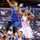 Forward Maya Moore (left), the highly-touted rookie out of UConn, lived up to the hype and is the current frontrunner for Rookie of the Year. She started all 34 games for Minnesota, averaging 13.2 points per game and 4.6 rebounds per game. The Lynx have the best record in the WNBA, and face off with the Silver Stars in the first round of the playoffs.