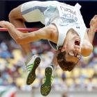 Rozle Prezelj of Slovenia appears to be learning the hard way that it's never a good idea to compete in the high jump with a bad back.