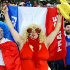 A French supporter at the great big tournament in New Zealand proudly displays his (her?) nation's natural flair for haute couture.