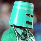 We can only assume that this one is of the noted, if eccentric, guitarist Buckethead --   CLICK HERE   and he'll play a tune just for you -- watching Ireland battle Australia at Eden park in Auckland, New Zealand.