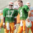 """Martin did what Manning couldn't do: win a national title at Tennessee. He did so in 1998, his first year in succession of Manning. As a freshman in 1996, Tamaurice Nigel """"Tee"""" Martin was needed from the get-go as Manning's backup with Jeremaine Copeland being better suited as a receiver and Jeremy Bates transferring.    Career Tennessee stats (as Manning's backup): 10 games, 8 of 16, 111 yards, 1 TD, 1 INT."""