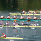 Poland (from front to rear), the Netherlands, Germany, the U.S. and the Ukraine push through the men's eight sculls M8 semifinal.