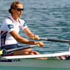 Ursula Grobler rows in the women's lightweight single sculls semifinals.