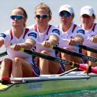 Team USA competes in the women's quadruple sculls finals.