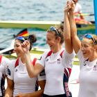 Stesha Carle (from left), Natalie Dell, Adrienne Martelli and Megan Kalmoe finished second in the women's quadruple sculls. Germany won the race.