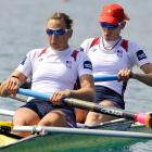 Caryn Davies and Katherine Glessner participate in the women's pair semifinals.