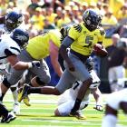 Now there's the explosive Oregon offense we know and love. A week after struggling to get in synch in a loss to LSU, the Ducks found their stride against an overmatched Nevada squad. Darron Thomas was particularly impressive, throwing for 295 yards and six touchdowns on a mere 13 completions.