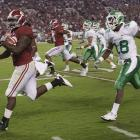 The Crimson Tide rolled along Saturday, pummeling North Texas in a 41-0 shutout in Bryant-Denny Stadium. Tailbacks Trent Richardson and Eddie Lacy had career rushing highs of 160-plus yards and each scored a pair of touchdowns. The win marked Alabama's first shutout since a 45-0 victory over Chattanooga in November 2009.
