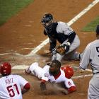 Against the Yankees in Game 4, the Phillies' Ryan Howard was called safe at home in the bottom of the fourth inning, tying the score at two, but he never touched the plate.
