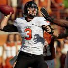Last week:  23-of-41 passing for 218 yards and one TD in 23-41 win over No. 22 Texas.   Season (six games):  189-of-260 passes for 2,098 yards, 16 TDs and six INTs  Weeden wasn't at his sharpest against the Longhorns. He finished with a career-low 218 yards and had his fewest completions (23) and lowest completion percentage (56.1) of the season. It was simply an off game as he failed to connect with Justin Blackmon on four deep balls. So why does he make his debut in the Watch this week? Weeden is making a push as a dark horse candidate for the Oklahoma State's first Heisman in 23 years as he pushed his TD to INT ratio to 16/6 and kept the Cowboys very much in the mix in the Big 12 and BCS races.   Next up:  Saturday at Missouri